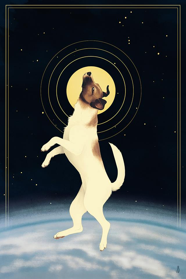 Картинки собака лайка в космосе